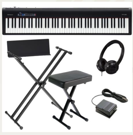 Brand New Roland FP-30 Black Digital Piano 88- Key Weighted with X Stand, X Bench, and HP