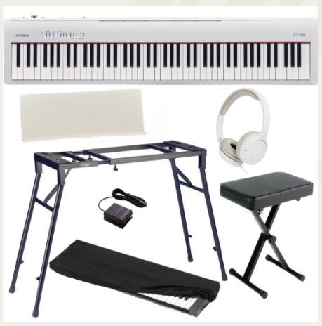 Brand New Roland FP-30 White Digital Piano 88- Key Weighted with 4-legged Stand, X Bench, HP