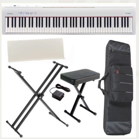 Brand New Roland FP-30 White Digital Piano 88- Key Weighted with X Stand, X Bench, Carrying Bag