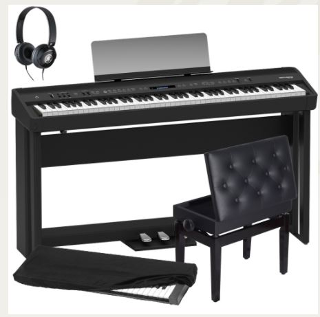 Brand New Roland FP 90 Black Portable Stage Piano 88 Weighted Key with Cabinet Stand, 3 Pedal, Adjustable Storage Bench, Dust Cover and Headphones