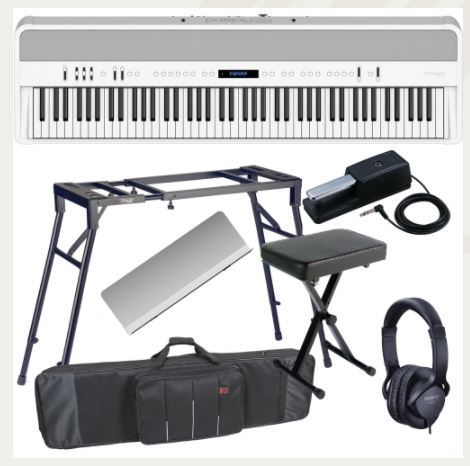 Brand New Roland FP 90 White Portable Stage Piano 88 Weighted Key with 4 Legged Stand, X Bench, Keyboard Carrying Bag and Headphones