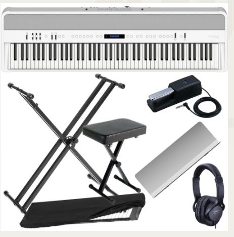 Brand New Roland FP 90 White Portable Stage Piano 88 Weighted Key with X Stand, X Bench, Dust Cover and Headphones.