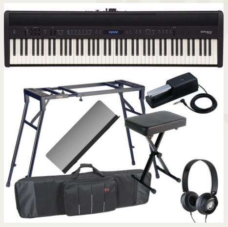 Roland FP-60 Black Stage Digital Piano 88 Key Weighted With 4-Legged Stand, X Bench, Headphones, Carrying Bag With Wheels