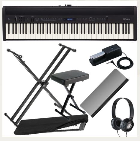 Roland FP-60 Black Stage Digital Piano 88 Key Weighted with X Stand, X Bench, Headphones, Dust Cover