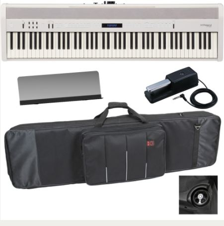 Roland FP-60 White Stage Digital Piano 88 Key Weighted and Carrying Bag With Wheels