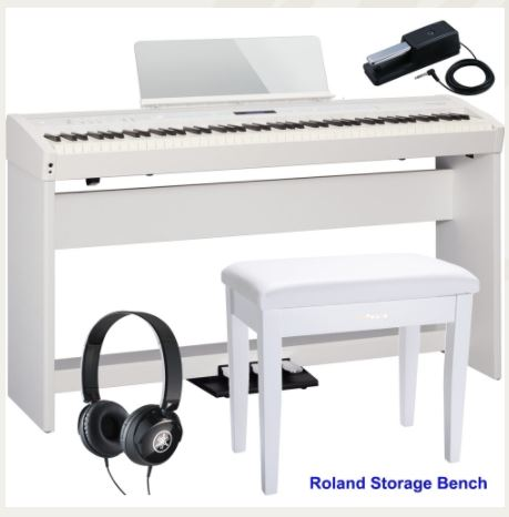 Roland FP-60 White Stage Digital Piano 88 Key Weighted With KSC-72 Stand, KPD-90 3 Pedal, Headphones, Roland Storage Bench