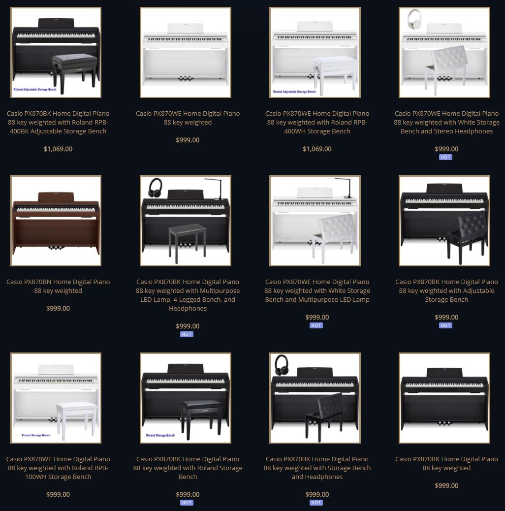 Casio PX870 list