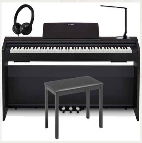 Casio PX870BK Home Digital Piano 88 key weighted with Multipurpose LED Lamp, 4-Legged Bench, and Headphones