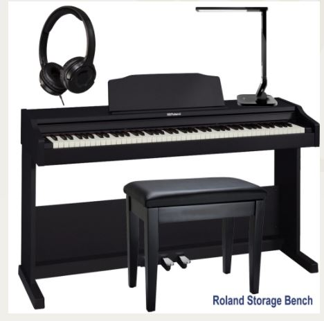 Roland RP-102 Home Style Digital Piano Black 88 Key Weighted With Roland Storage Bench, Headphones, LED Lamp