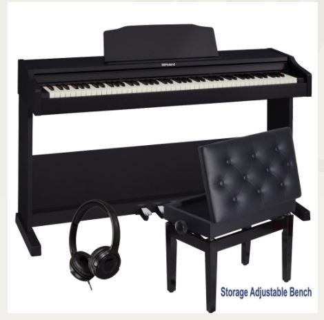 Roland RP-102 Home Style Digital Piano Black 88 Key Weighted With Storage Adjustable Bench and Headphones